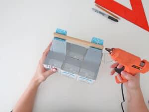 glue the handle on diy desk organizer