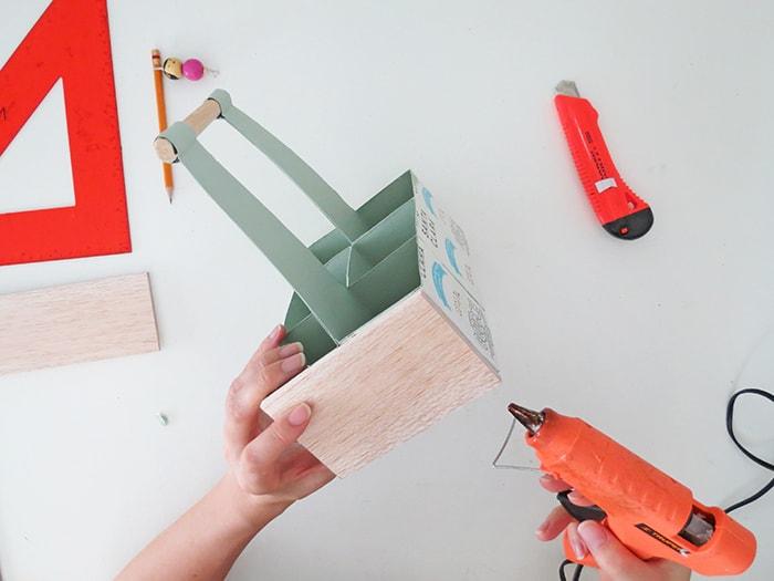 glue wood on desk organizer caddy
