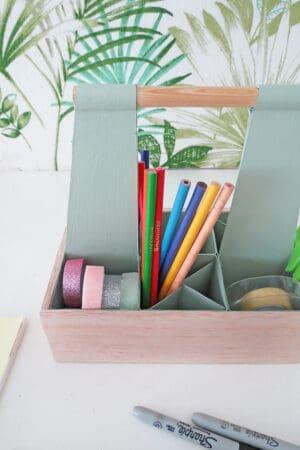 diy desk organizer made with milk carton