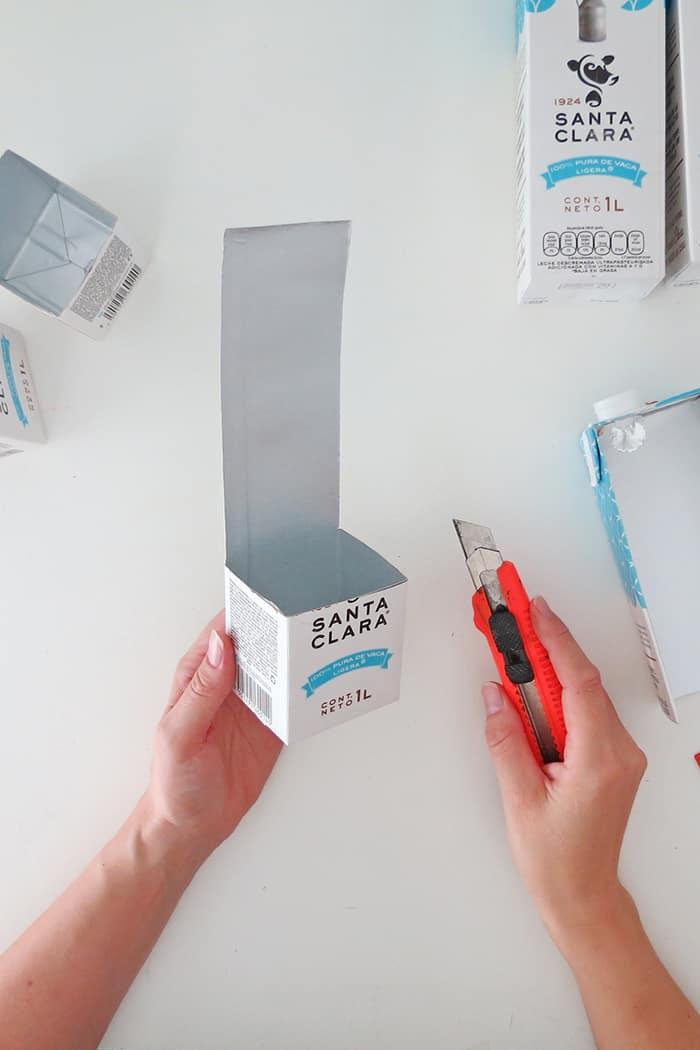 cut milk carton to make diy desk organizer
