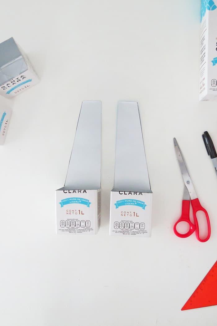 cut another milk carton to make diy desk organizer