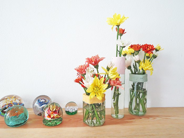 diy flower vases with concrete