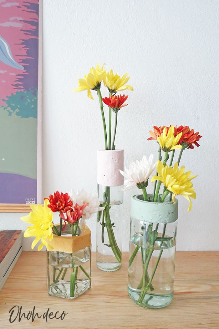 diy cement flower vase