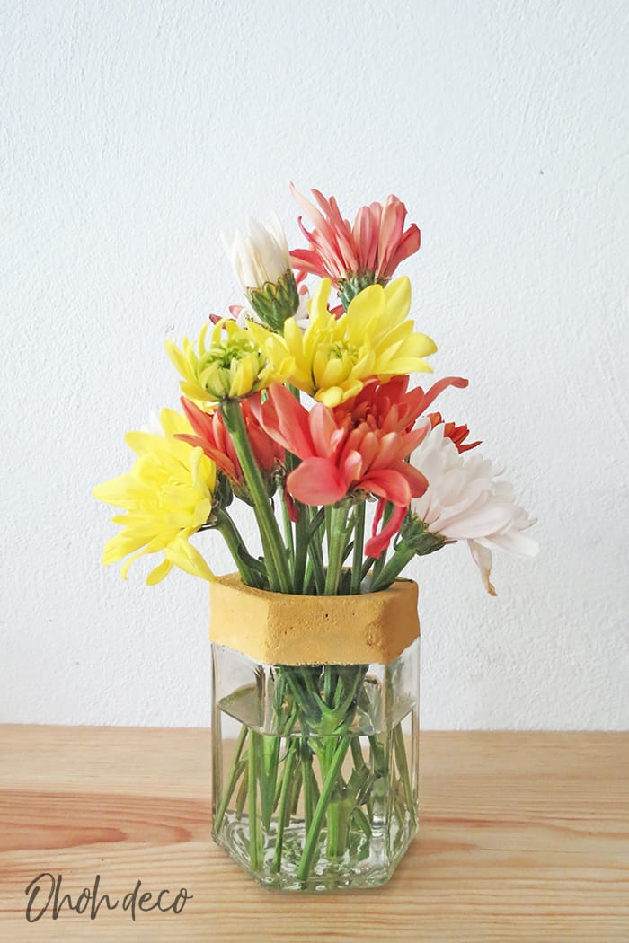 diy glass jar flower vase