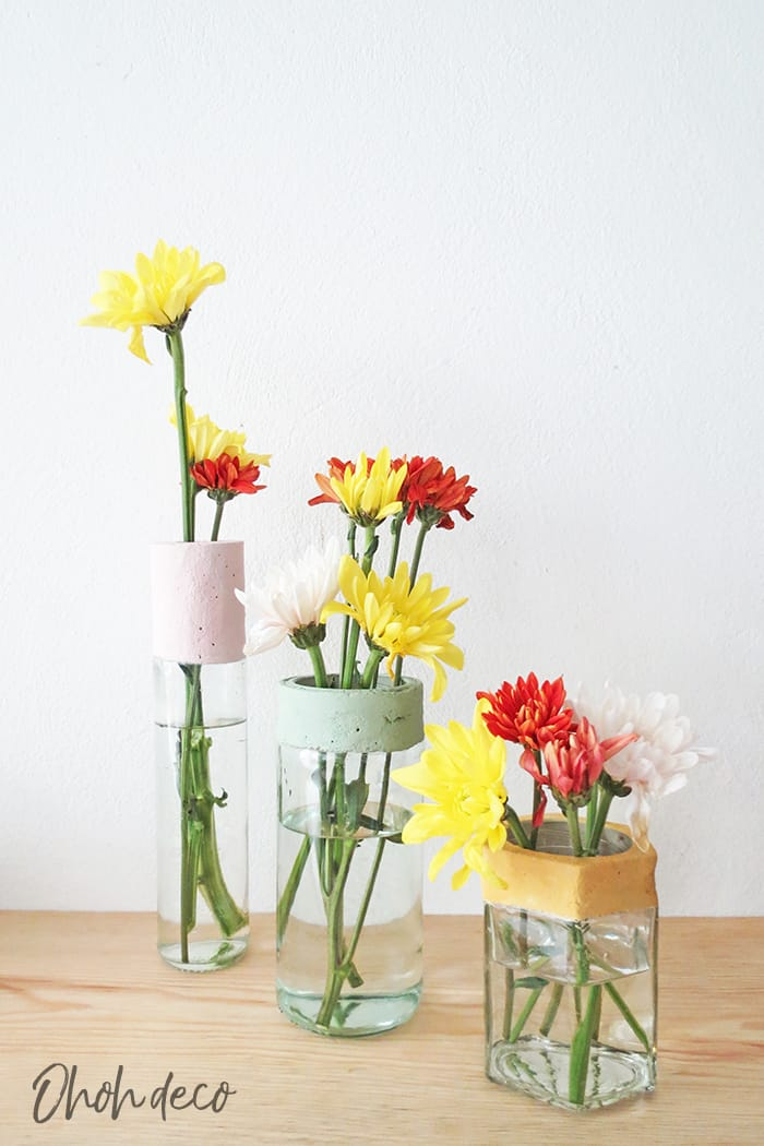 diy flower vase with concrete