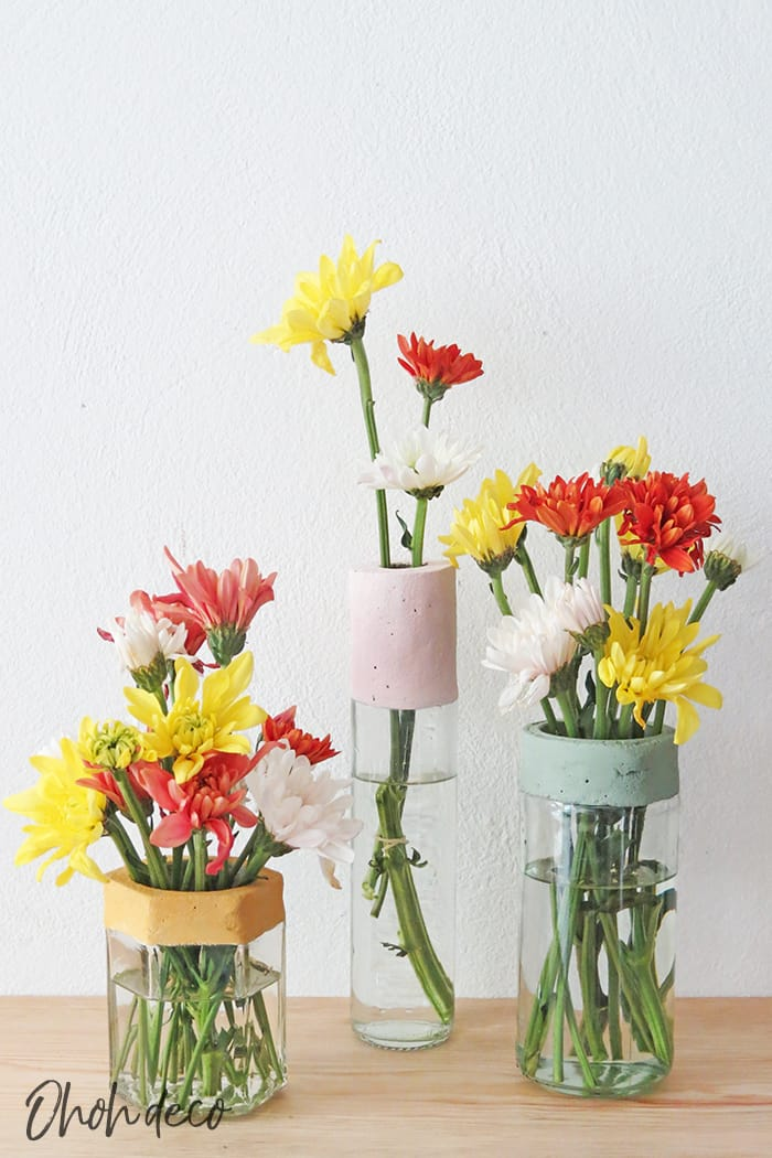 diy flower vase with glass bottle and jar