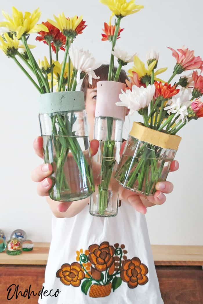showing my diy flower vases