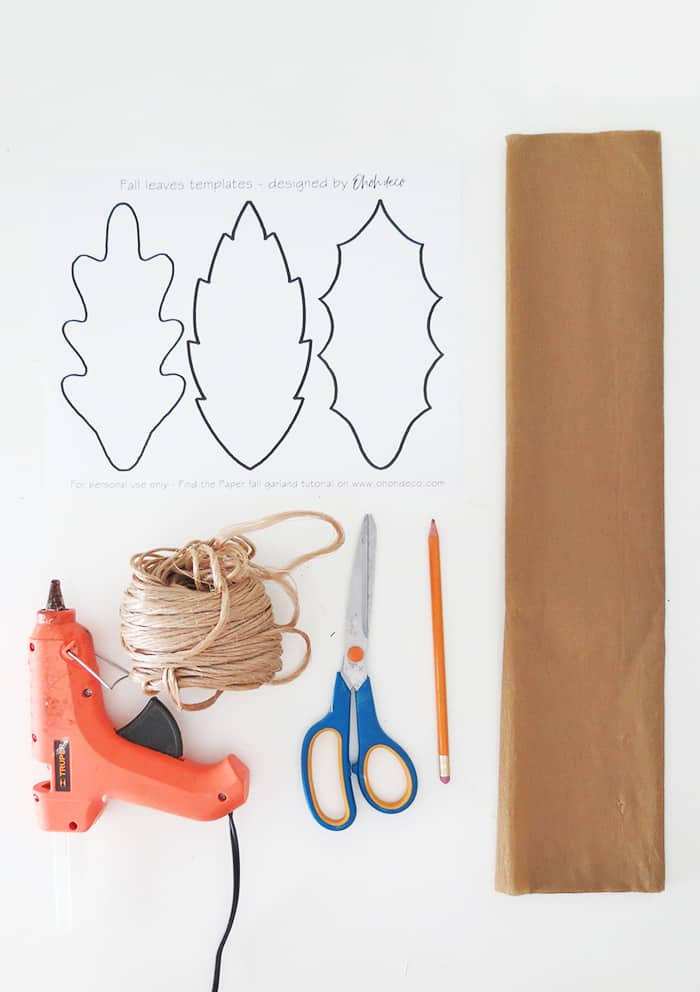 materials to make fall leaf garland
