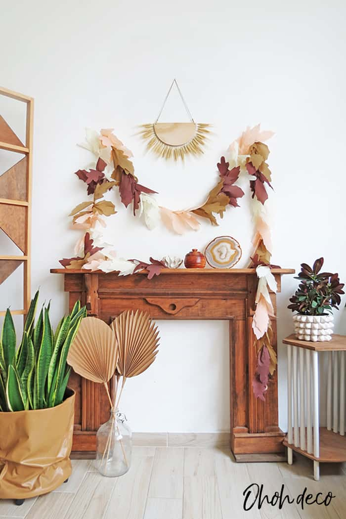 fall decor with diy leaf garland