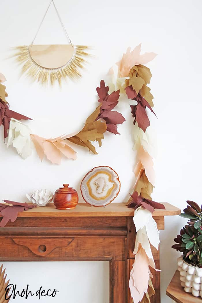 fall decor with diy paper leaf garland