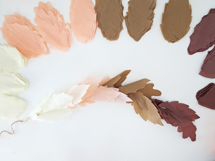 making fall paper leaf garland