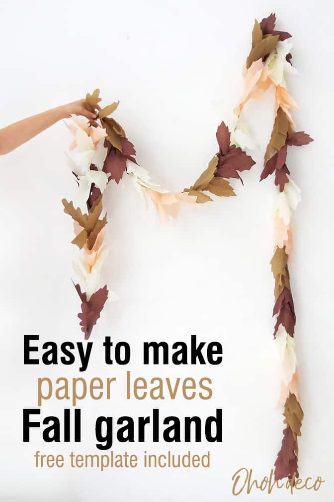 Easy paper leaf garland DIY