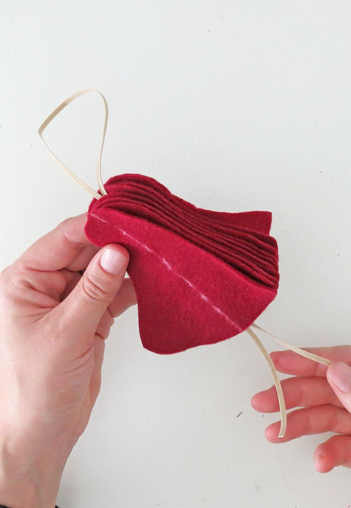 sewing a felt christmas ornament