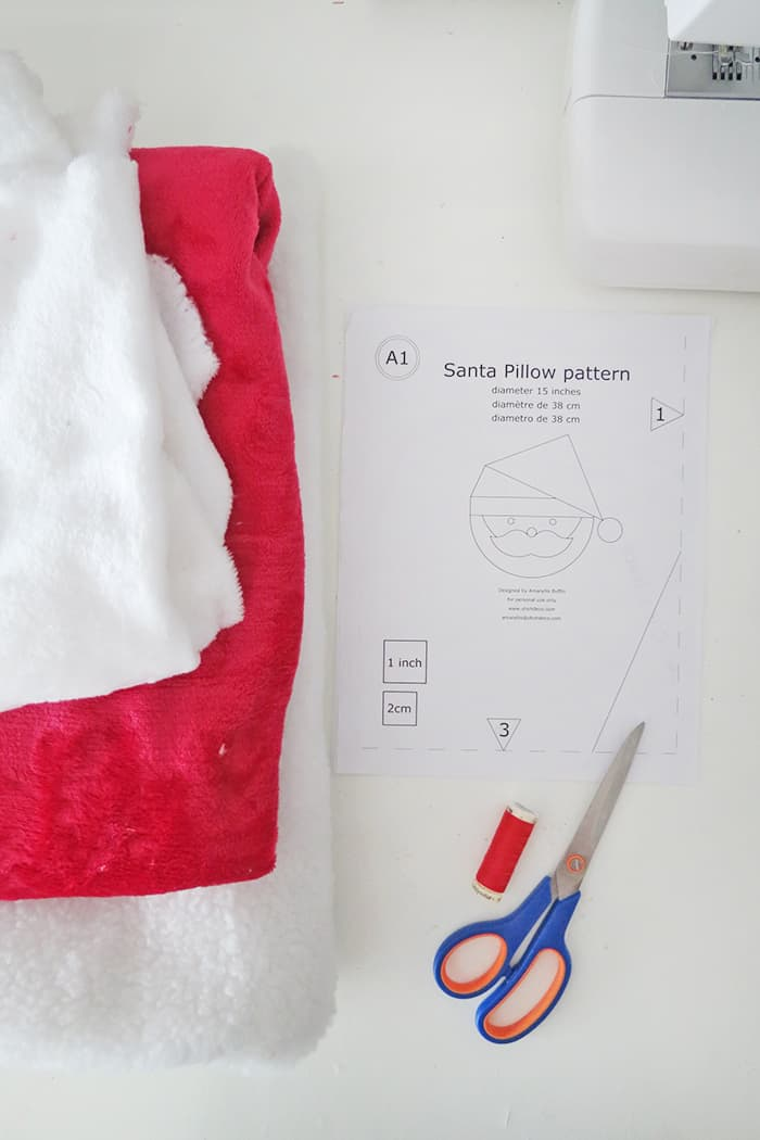 material to sew a santa pillow