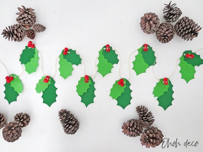 DIY Holly Christmas Garland