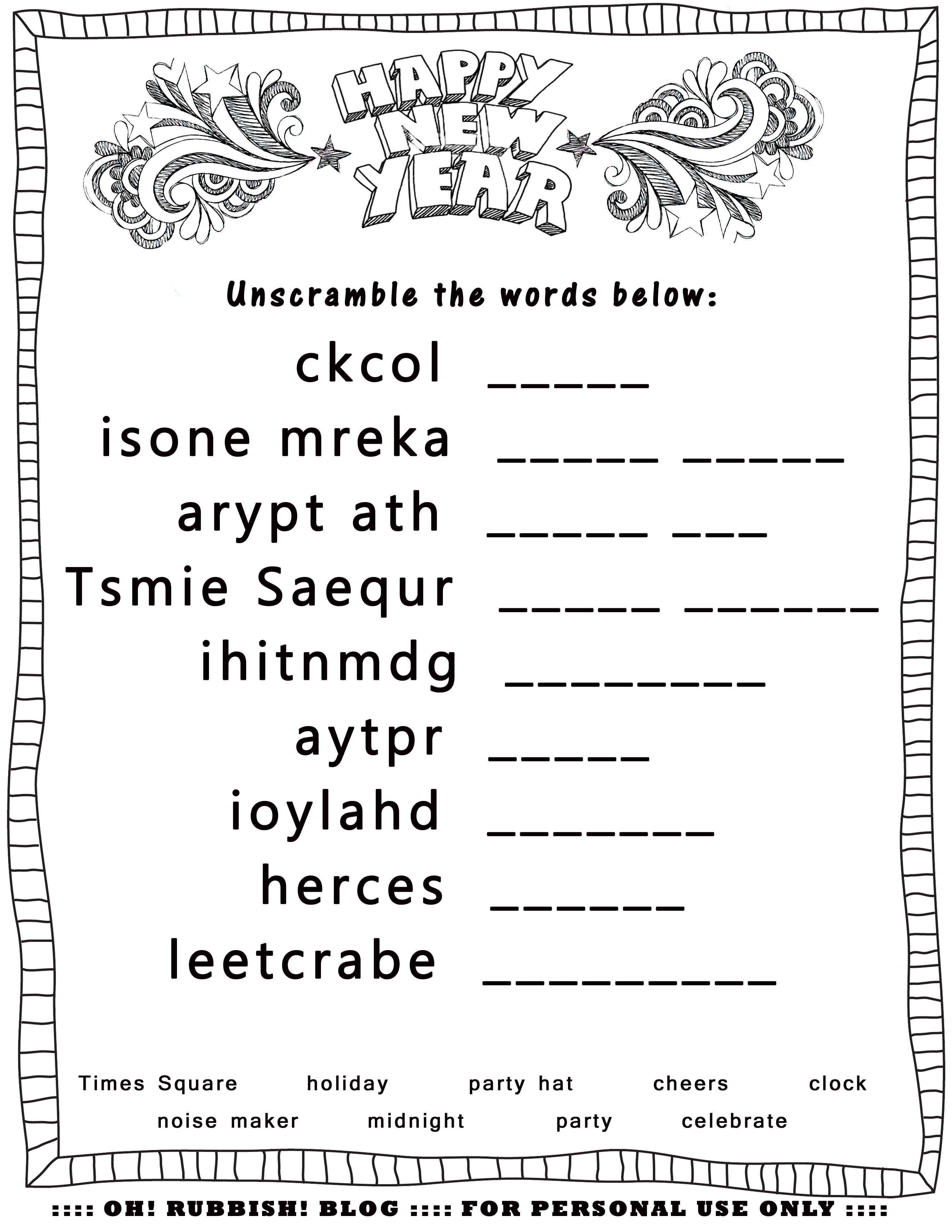 New Year S Printable Activities Entertain Your Kids With 4 New Year Word Games