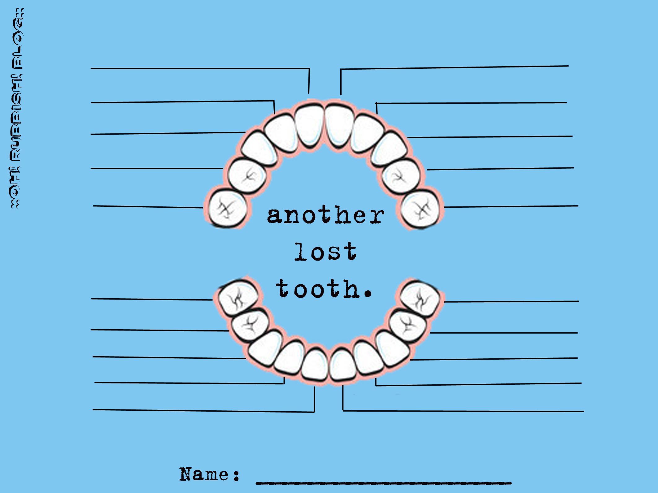 Another Lost Tooth Tooth Fairy Tooth Chart Free