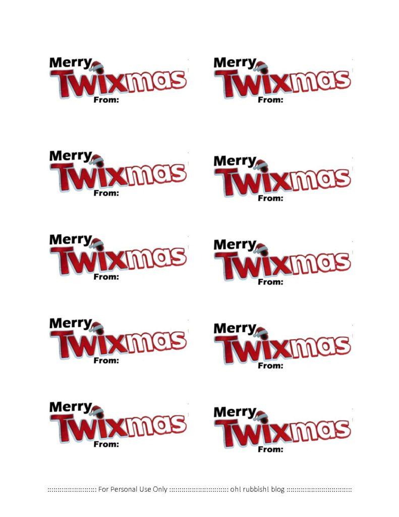 Merry Twixmas Twix Chocolate Christmas Treats Printable