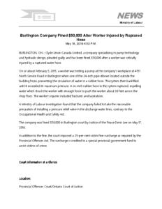 Burlington company fined 50000 after worker injured by ruptured hose