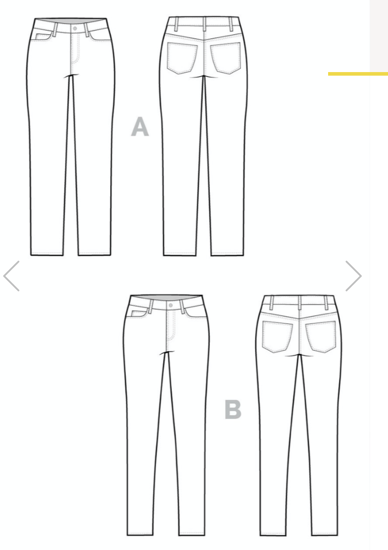 Ginger jeans by Closet Core Patterns - technical drawings