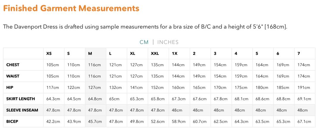 Friday Pattern Company Davenport Dress - Finished garment size chart
