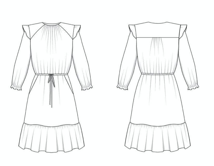 Friday Pattern Company - Davenport Dress - Technical illustration