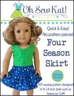 OhSewKat pdf sewing pattern for dolls free skirt