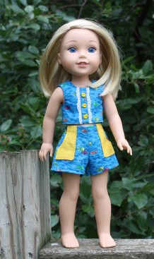 Oh Sew Kat sewing pattern for wellie wishers dolls sandbox shorts