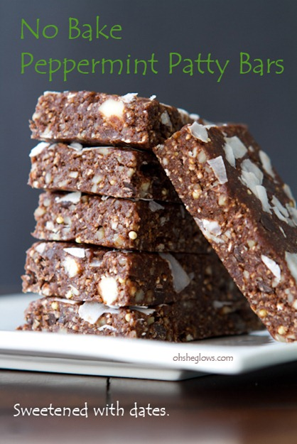 No Bake Peppermint Date Bars 46031   No Bake Peppermint Patty Bars II – Naturally Sweetened With Dates