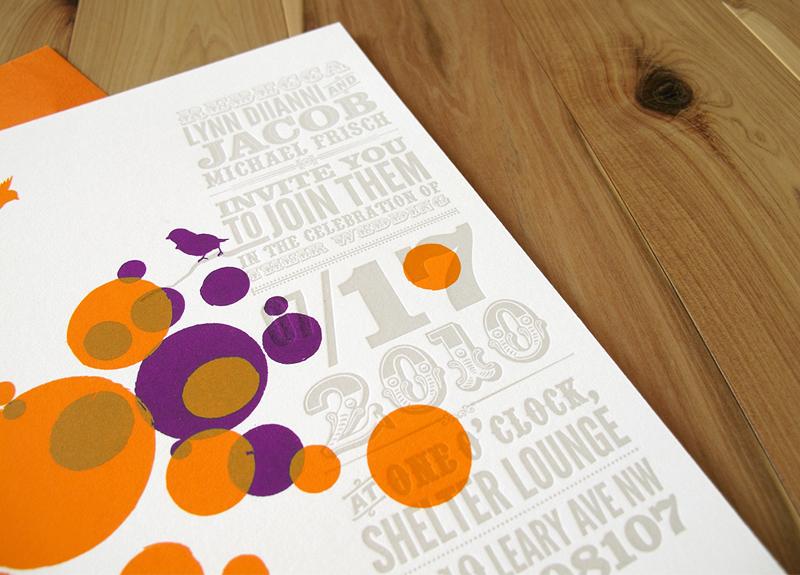 Orange Purple Letterpress Wedding Invitations