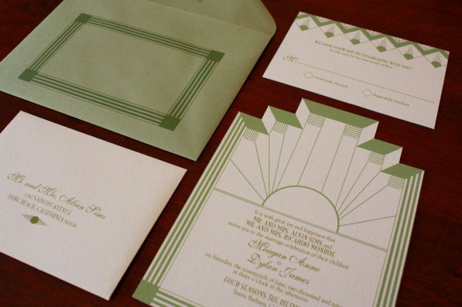 Art Deco Sea C Wedding Invitations