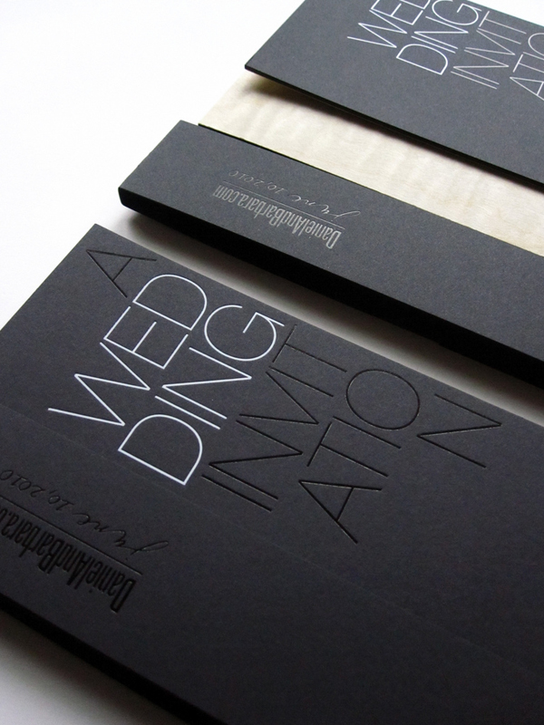 modern foil stamp wedding invitations
