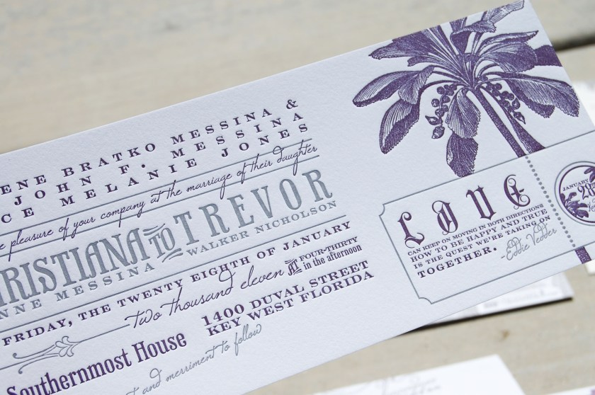 Rock N Roll Inspired Wedding Invitations Purple