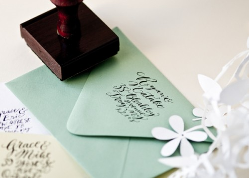 Calligraphy-Address-Stamp-Green