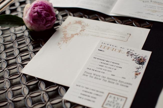 Newspaper Wedding Invitation Inside