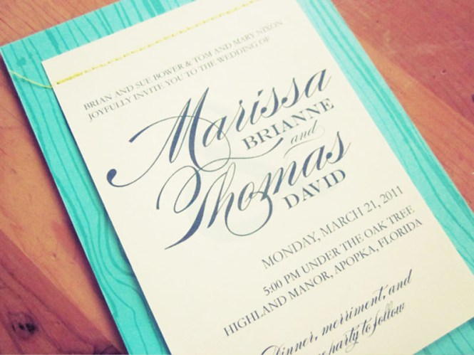 Marissa Tom S Aqua Blue Faux Bois Wedding Invitations