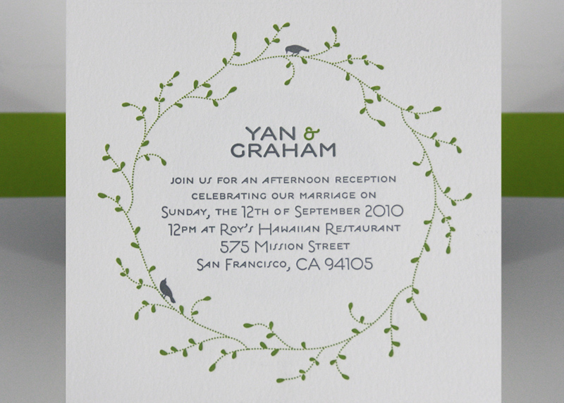 Green White Nature Inspired Letterpress Wedding Invitation