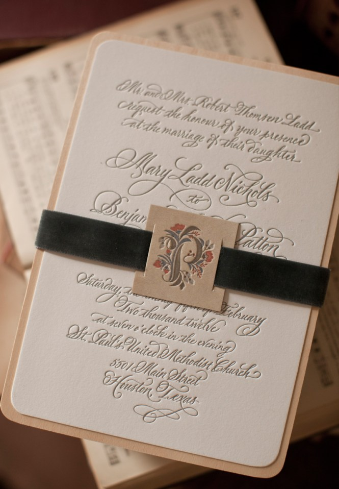 Mary Ben S Elegant And Rustic Letterpress Wedding Invitations