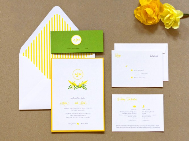 Anna Mark S Preppy Yellow And Green Wedding Invitations