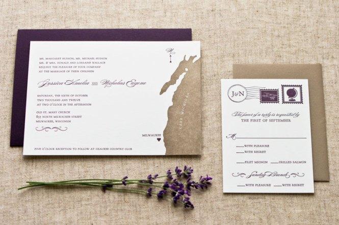 Jessica Nick S Letterpress Map Wedding Invitations