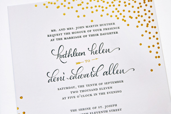 Navy And Gold Wedding Invitations: Navy + Gold Foil Calligraphy Wedding Invitations