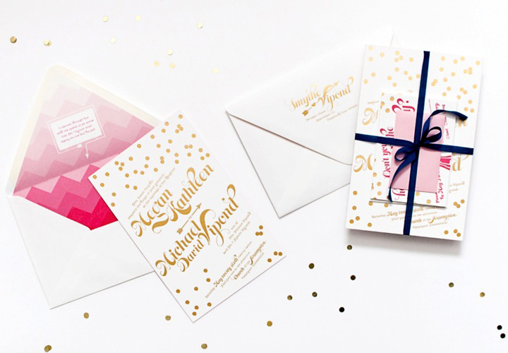 Pink And Gold Foil Wedding Invitations By C Pheasant Via Oh So Beautiful Paper 7