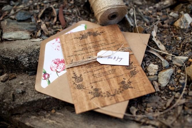 Dana Matt S Rustic Fl Wood Veneer Wedding Invitaions