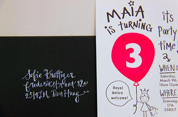 maia s neon pink balloon 3rd birthday