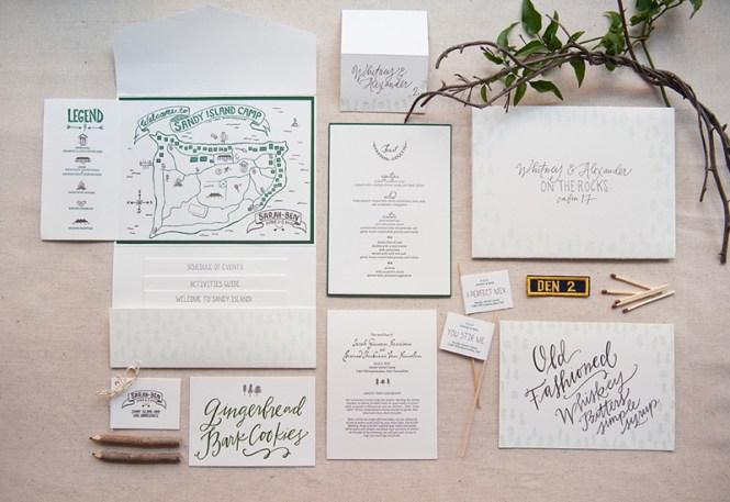 Summer Camp Inspired Wedding Invitations
