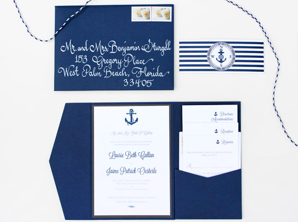 Nautical Wedding Invitations Frosted Tea Light Favors