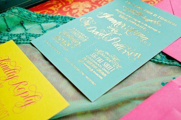 Colorful Gold Foil Wedding Invitations Jenna Blazevich4