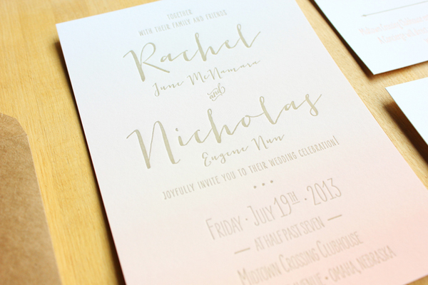 Ombre Letterpress Wedding Invitations