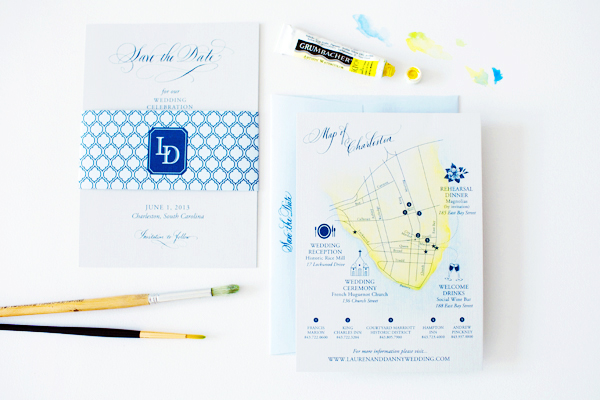 Blue Letterpress Gold Foil Custom Wedding Invitations By April Lynn Designs
