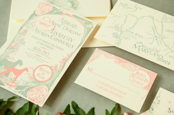 Art Nouveau Custom Wedding Invitations Antiquaria2